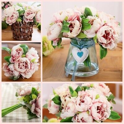 1 Bouquet 5 Head Artificial Peony Silk Flower Home Wedding Party Garden Craft UK