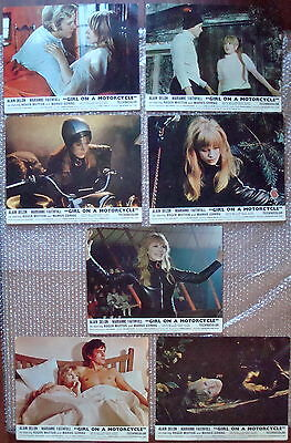 """Seven Original Lobby Cards 14 By 11"""" 1968 Film Movie Girl On A Motorcycle Poster"""