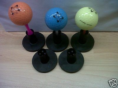 5 Black Dual Purpose Rubber Golf Tees, Tee holders for the Range/Home Practice