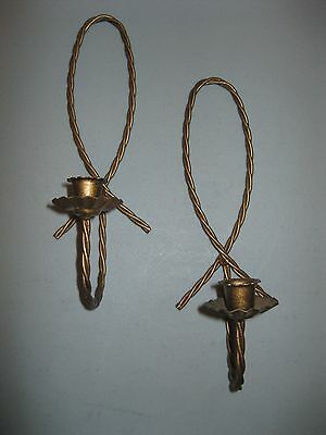 HOME INTERIORS ~ SET OF 2 TWISTED METAL WALL SCONCES candle holders (prev owned)