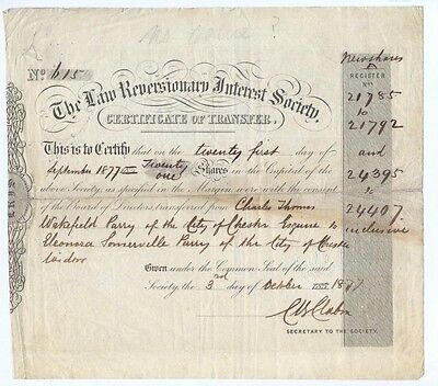 England Law Reversionary Interest Society alte Aktie 1877 old share