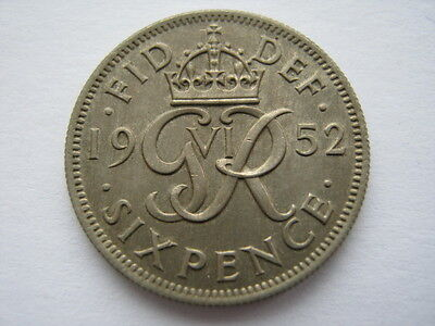 1952 Sixpence, UNC, toned. ACS
