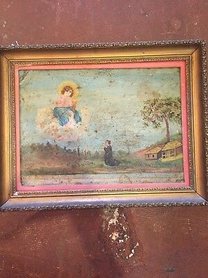 Antique Retablo Ex-Voto On Tin