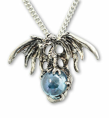 Mystical Dragon with Blue Crystal Ball Silver Finish Pendant Necklace NK-584