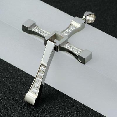 Best Dominic Toretto CZ Crystal Cross Stainless Steel Necklace Pendant+Gift Bag