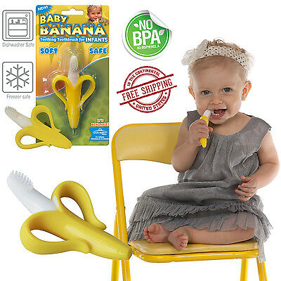 Baby Banana Toothbrush SAFE FOR BABY Chewable Bendable Training Teether Infant