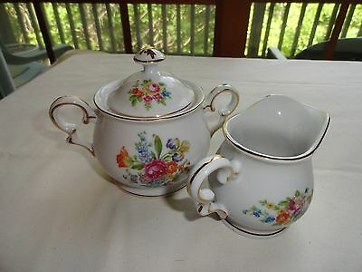 Vintage Albion China Cream And Sugar - Rose Pattern