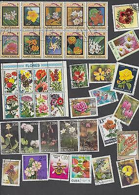100 All different WORLD stamps with FLOWERS. Nice selection