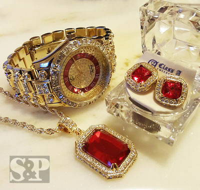 Men Hip Hop Iced Out Gold Rick Ross Watch Ruby Necklace Earrings Combo Set