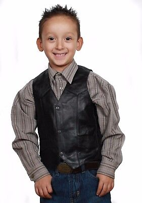 Kid's Classic Black Leather Motorcycle Western soft leather Vest