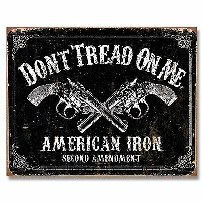 Don't Tread on Me Tin Metal Sign American Iron Second Amendment 16 by 12.5 inch