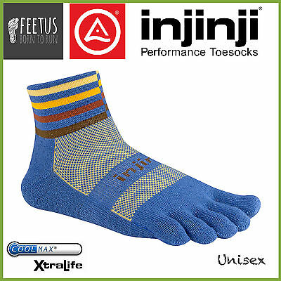 INJINJI TRAIL 2.0 MINI CREW MidWeight Thick Running Toe Socks (Desert Blue 2016)