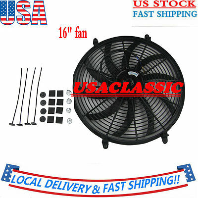 "New Thermo Curved Blade FAN + MOUNTING 16"" INCH PULL/PUSH RADIATOR Electirc"