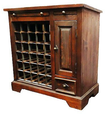 wein kommode weinregal flaschen landhaus schrank massiv holz antik stil neu13 eur 195 00. Black Bedroom Furniture Sets. Home Design Ideas
