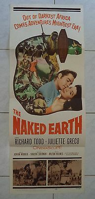 THE NAKED EARTH 1958 VINTAGE US INSERT POSTER 36x14 RICHARD TODD