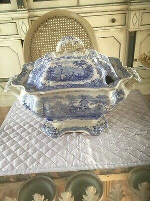 Staffordshire Blue And White Soup Tureen