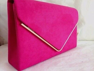 New Fuschia Pink Faux Suede Evening Day Clutch Bag Gold Wedding Prom Party Club