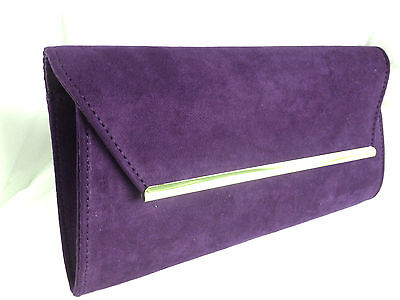 New Purple Faux Suede Evening Day Clutch Bag Gold Wedding Prom Party Club