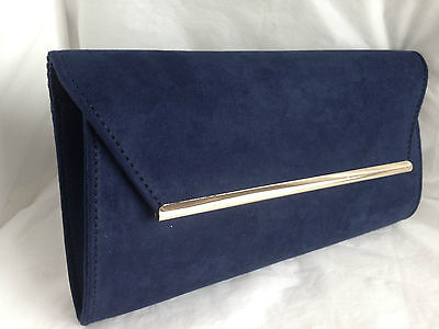 New Navy Blue Faux Suede Evening Day Clutch Bag  Wedding Prom Party Club