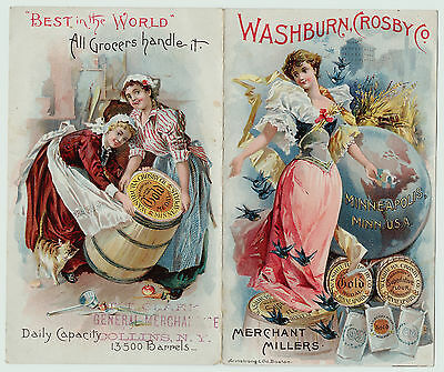 RARE Advertising BROCHURE Folding Trade Card Washburn Crosby Gold Medal Flour