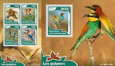 Z08 Imperforated CA16010ab CENTRAL AFRICA 2016 Bee-eaters MNH Set
