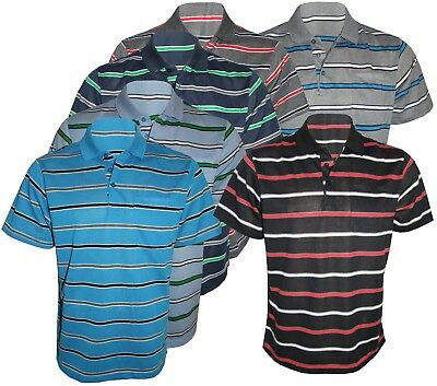 Men's Striped T-Shirts Loose Fit Pique Polo Polycotton 1909 Tops Casual M to 2XL