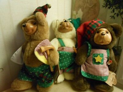 """3 Applause Raikes Bear Bears With Hang Tags Wooden Faced Saw Hammer Pencil 7.5"""""""
