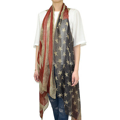 Women's Vintage Faded Patriotic American Flag Cardigan Sleeveless Vest Scarf