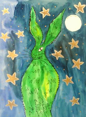 "Fridge Magnet, Quirky Green Hare at Night  large  4.25"" by 5.5"""