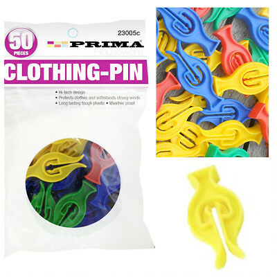 50 Pcs Prima Cyclone Pegs Washers Drying Peg Plastic Clothes Holder Swirl Drier