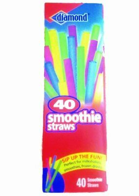 Diamond Neon Smoothie Straws, 40 ct Assorted, New, Free Shipping
