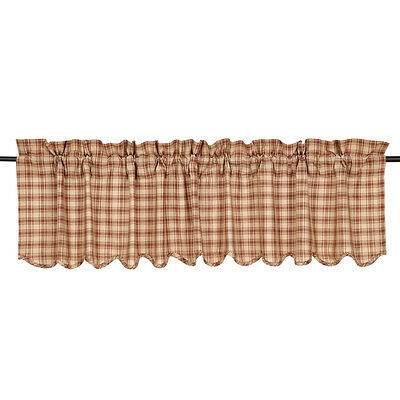 Light Brown & Tan Rustic Country Plaid Cotton Window Valance Scalloped Edge