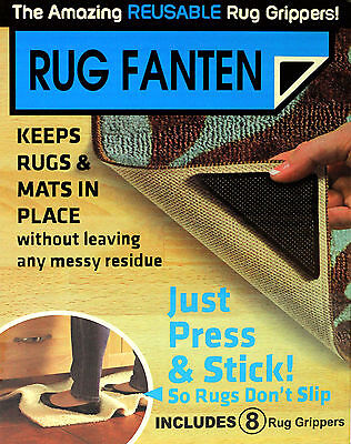 New Ruggies Rug Carpet Mat Grippers Non Slip Skid Reusable Washable Grips
