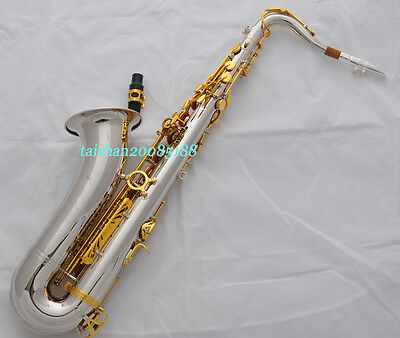 Professional silver/gold Tenor Saxophone Sax High F# + EXTRA metal mouthpiece