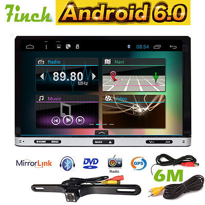 Android 6.0 In-Dash 2DIN GPS Navi Car Stereo Radio Touch Screen BTTablet+Camera