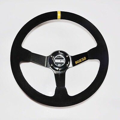 Car 350mm /13.8inch Auto Deep Dished Sport Racing Suede Alloy Steering Wheel