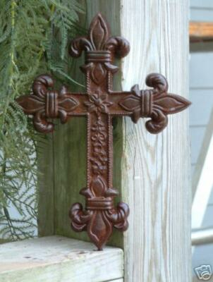 FLEUR DE LIS CROSS Iron Cast  Wrought Garden Gothic