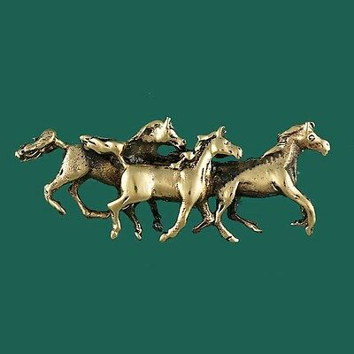 Three Horses Brumbys Galloping Brooch Tie Pin Great for Horse Lover