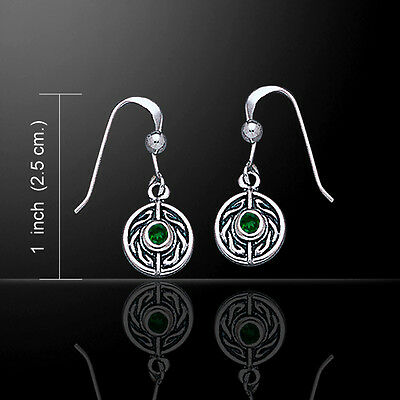 Celtic Knotwork .925 Sterling Silver Earrings Choice of Gem Peter Stone