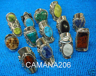 LOT 10 ASSORTED ALPACA RINGS with MIX PERUVIAN STONES