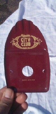 Vintage Metal Schmidt City Club Beer Finger Tip Tray Cabin Man Cave decor