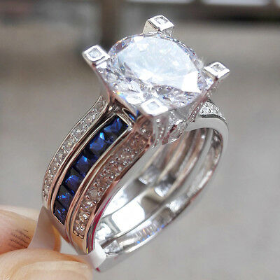 2.20 Ct Blue Sapphire Round 925 Sterling Silver Wedding Ring Set Women's Size 9