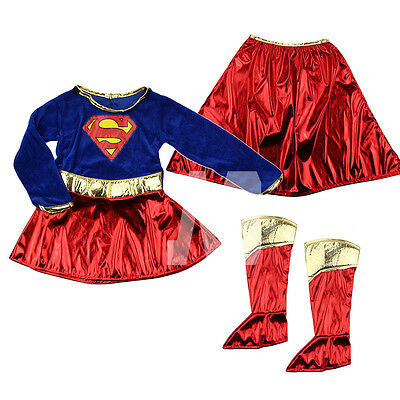 Kid Girls Fancy Dress Superhero Supergirl Costume  Party Outfit Cover Book Day