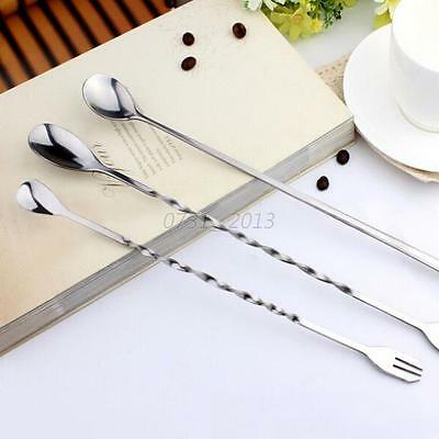 Mini Long Handle Bar Fork Spoon Cocktail Alcohol Drink Bartending Stirrer Mixing