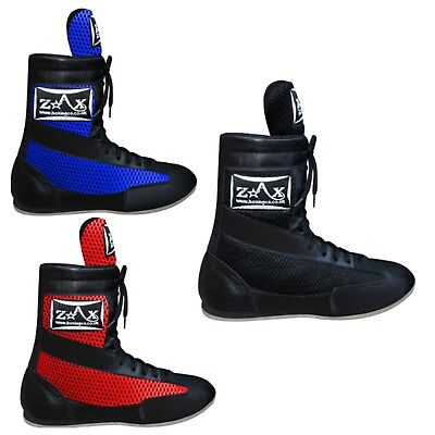 ZstarAX Leather Boxing Boots MESH Long Anklet Boots Juniors & Adults Martial Art