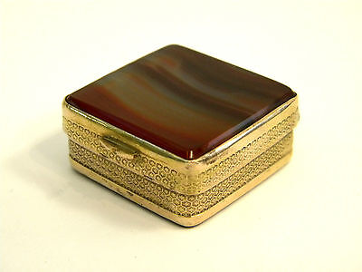ANTIQUE AGATE & GILT METAL SQUARE BOX c. 1900 PILL BOX
