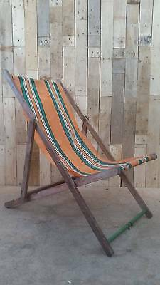 Retro Vintage Folding Wooden Striped Deckchair  - Upcycle / Prop / VW Camping
