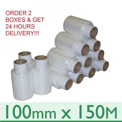 40 CLEAR STRONG MINI HANDY PALLET STRETCH SHRINK WRAP FILM CORE 100mm x 150m