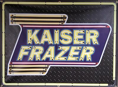 Kaiser Frazer Dealer Marquee Neon Effect Printed Banner Sign Garage Art 4' X 3'