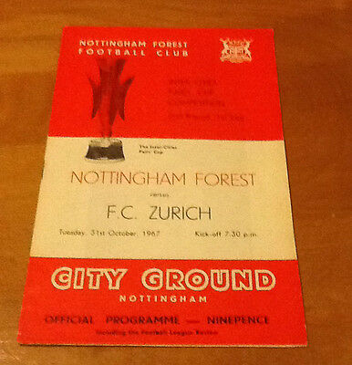 Notts Forest V Zurich 31/10/1967 Fairs Cup